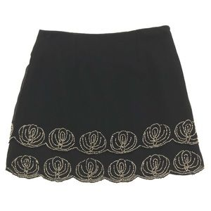 Forever 21   Black Mini Skirt with Silver Beading